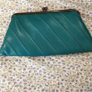 Handbags - Vintage teal clutch (leather)